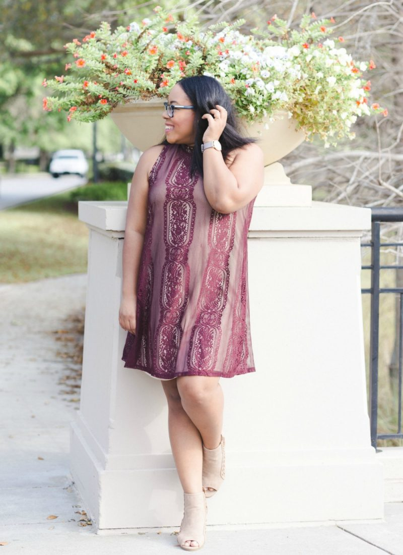 What to Wear: Burgundy Lace Holiday Party Dress