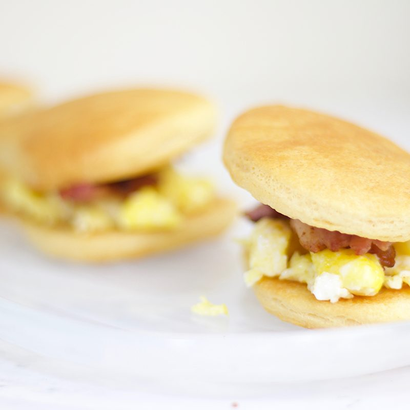 Easter Inspired Bacon Egg and Cheese Sandwiches