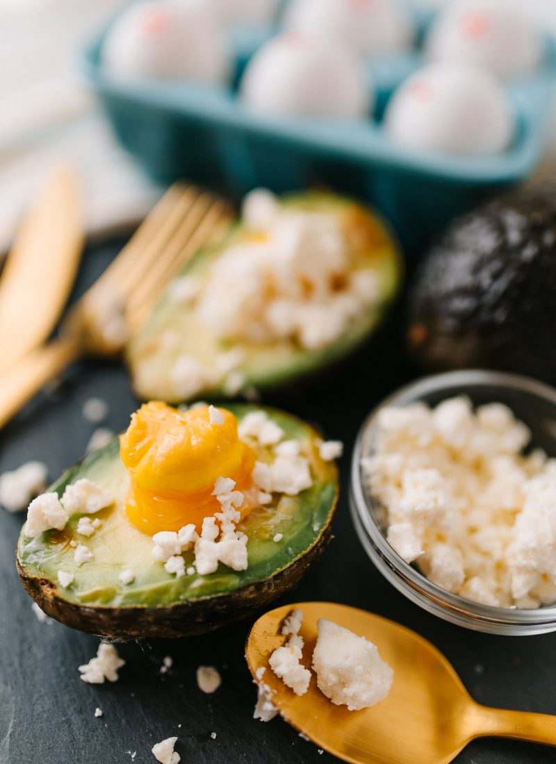 Baked Avocado Egg with Feta Cheese