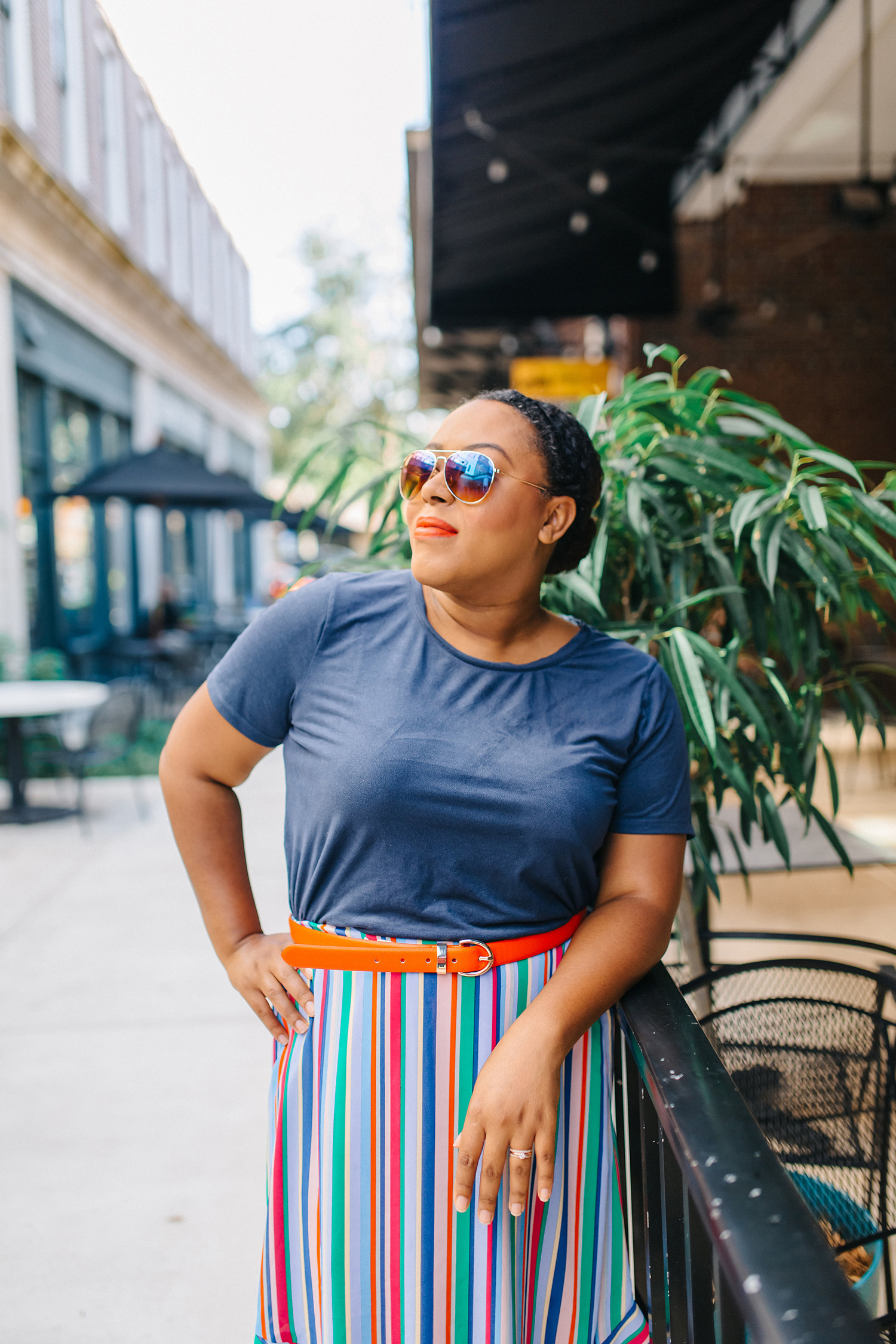 Colorful Striped Skirt - Bianca Dottin - Orlando Fashion Blogger