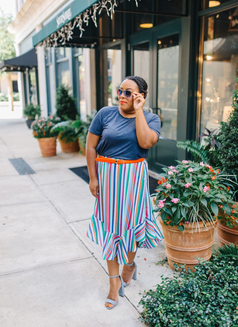 Colorful Striped Skirt - Bianca Dottin - Orlando Fashion Blogger