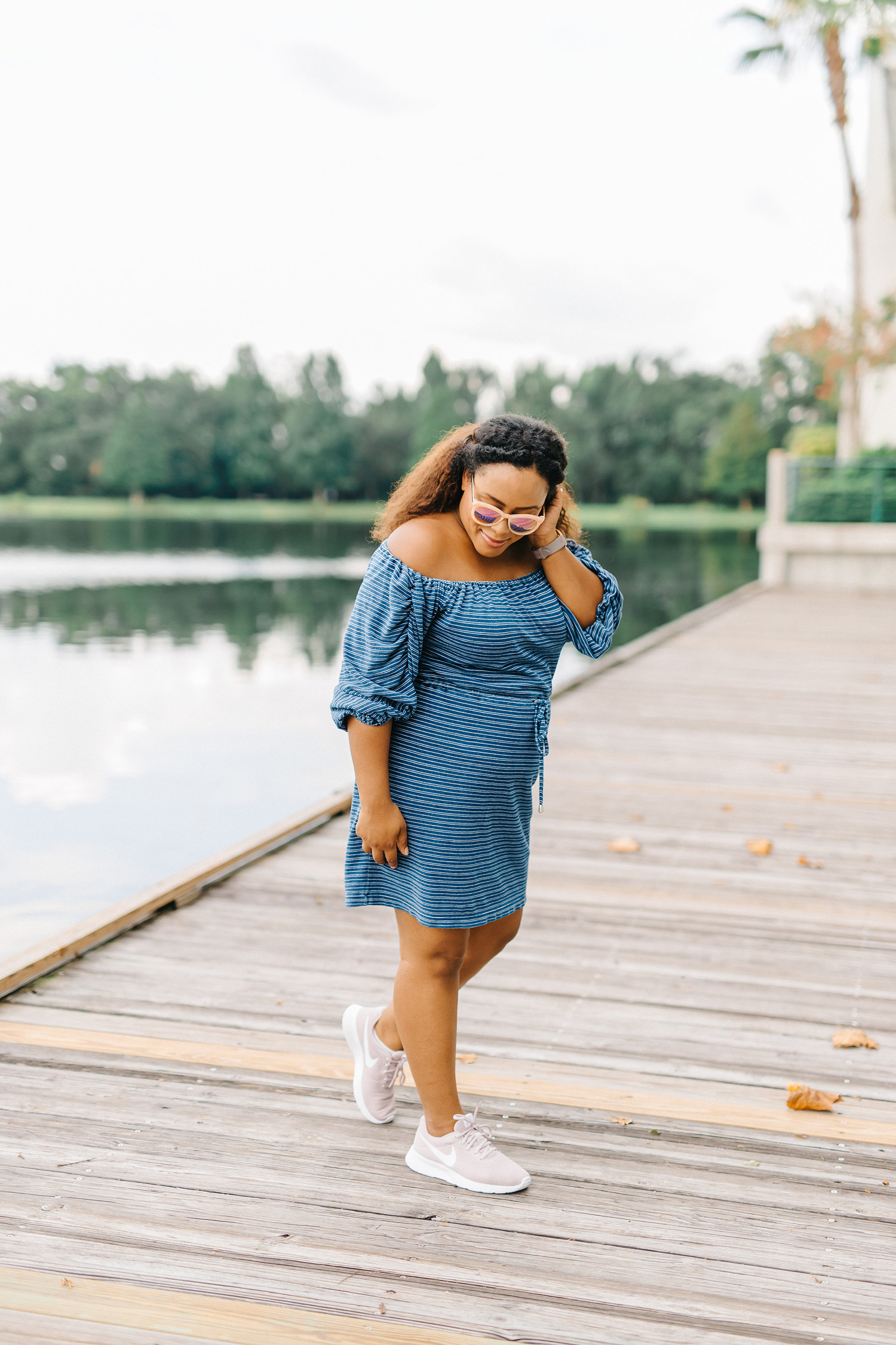 blue off the shoulder dress - casual mom outfits