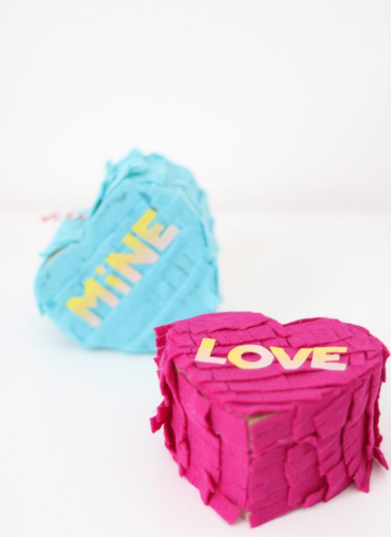 DIY Conversation Heart Mini Pinatas