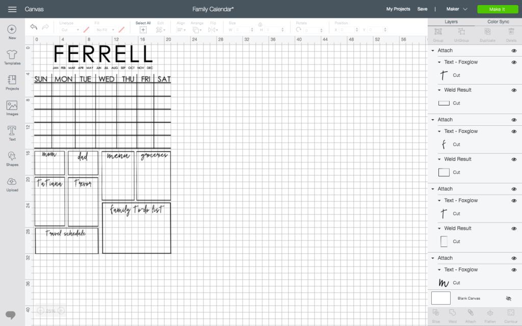 cricut calendar template