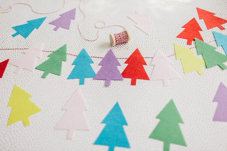 colorful christmas tree garland